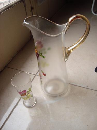 jarra y vaso veneciano pintados a mano en impecable estado