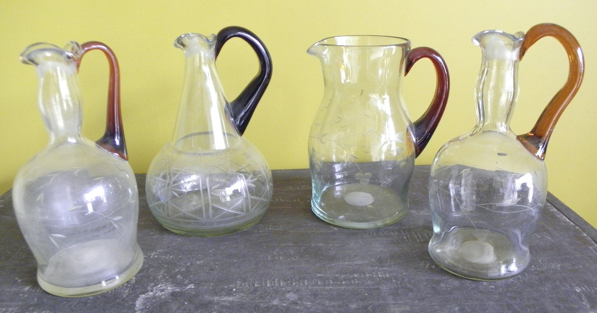 jarras vidrio tallado con asa de murano se venden x unidad