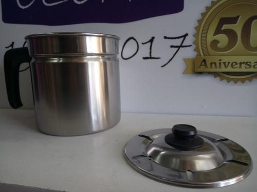 jarro hervidor gamuza platino acero mango baquelita lechero