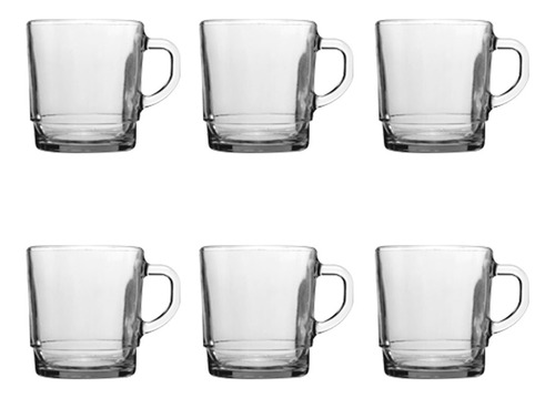 jarro mug rigolleau taza vidrio apilables café té bebidas calientes -  270 ml set tazas x6 unidades apto microondas