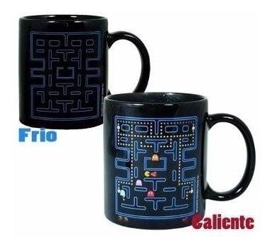 jarro mug taza magica termosensible pacman color pac man