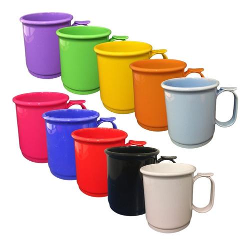 jarro mug x10 vaso plastico recto 9cm apoya dedo colores asa