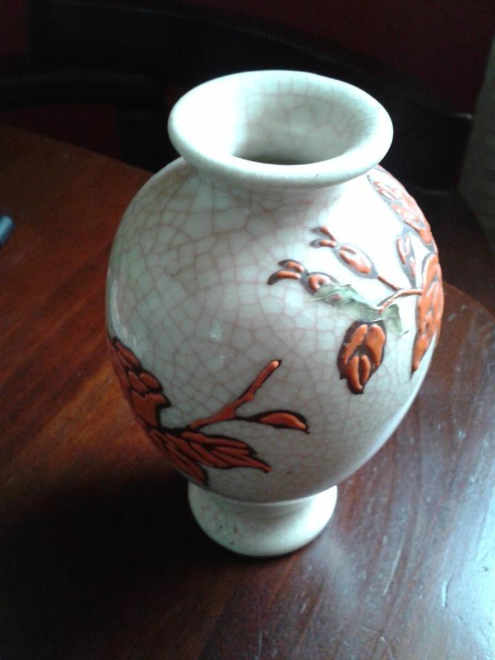 jarron ceramica decorado en relieve - Jarrones Decorados