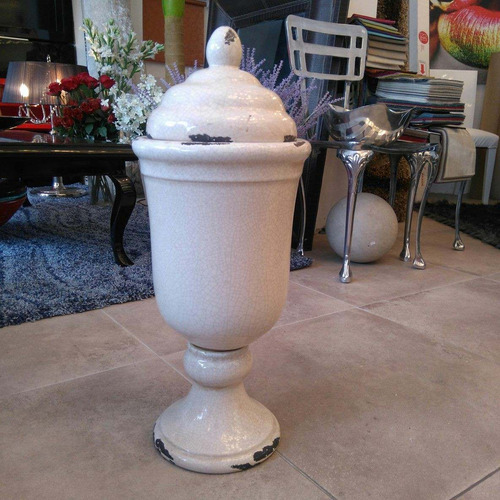jarrón copa con tapa beige diseño decoración be11