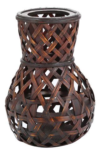 jarron decorativo bambú étnico color café 23 cm
