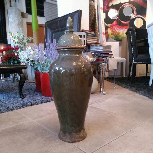 jarrón esquinero mediano verde diseño decoración ve3