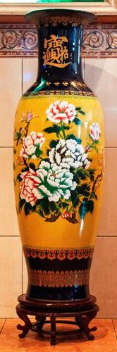 jarrón florero chino cerámica pintura artesanal