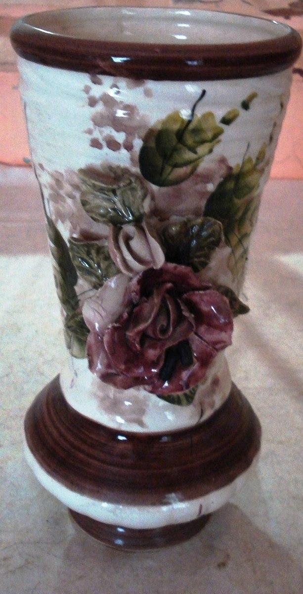 jarron florero grande flores en esmaltada