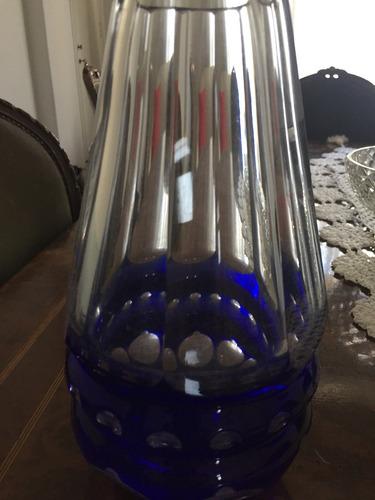 jarrón y cenicero de cristal de murano azul