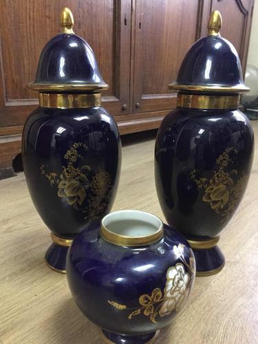 jarrones cerámica machado azul cobalto