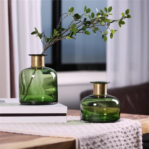 jarrones de vidrio de color verde burdeos de vidrio decorac