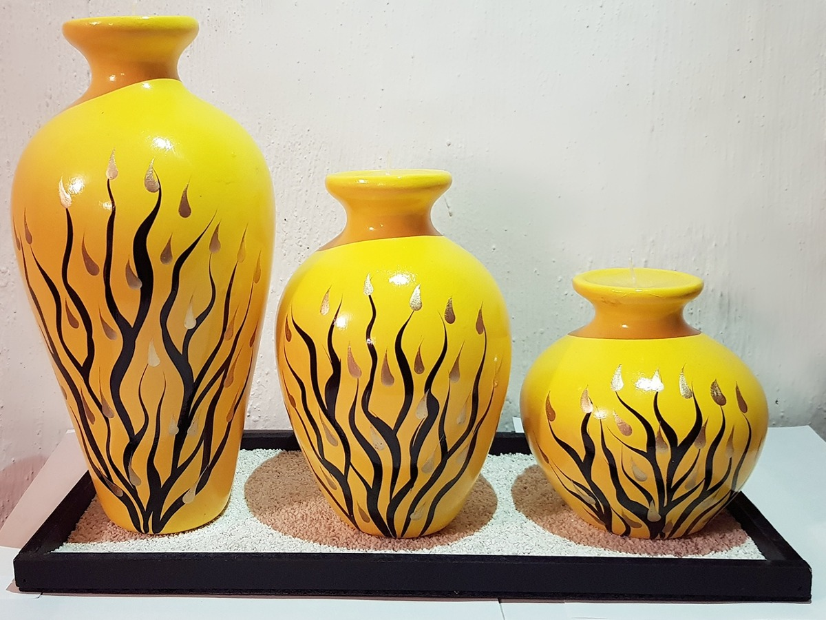 Jarrones decorativos artesanales de ceramica con vela Stickers decorativos para ceramica