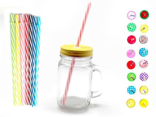 jarros de vidrio transparente con tapa y sorbete en oferta