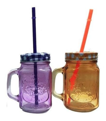 jarros mug de vidrio ice cold drink jars, vasos, retro polka