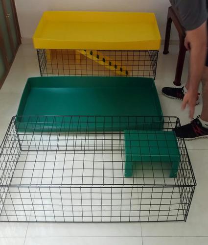 jaula 2 pisos para cuyo rampa y 2 casitas con envío