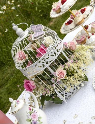 jaula blanca grande decorativa