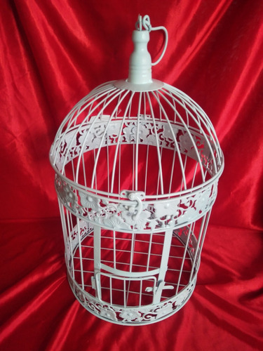jaula blanca redonda de metal fanal flores vintage