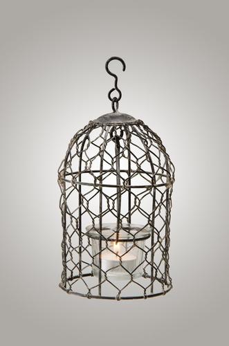jaula colgante de alambre tea light