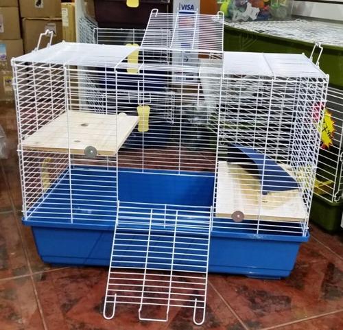 jaula con niveles de madera para cuy, conejo, chinchilla