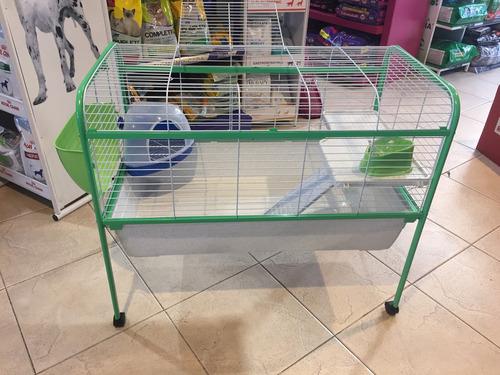 jaula con pie para conejo, hurón, cobayo, etc, importada