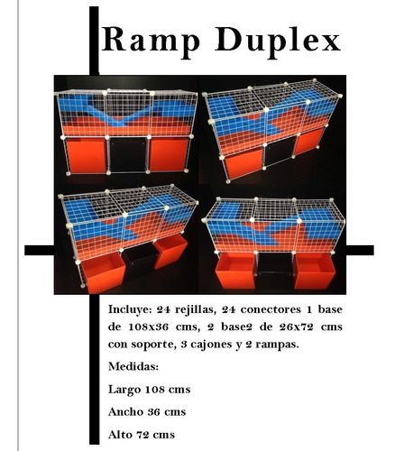 jaula desarmable happy house ramp duplex cuyo huron