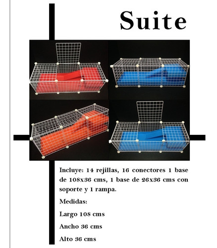 jaula desarmable happy house suite para cuyo huron