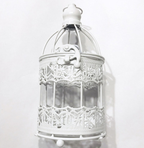 jaula jaulita centro de mesa souvenir de metal blanca 17cm