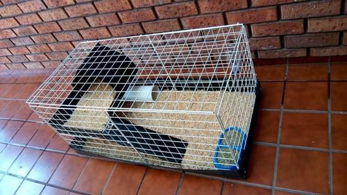 jaula nueva artesanal conejo 1/2 piso incluye heno y aserrín