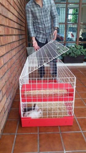 jaula nueva  cuyos 1/2 piso toda negra con heno y aserrín