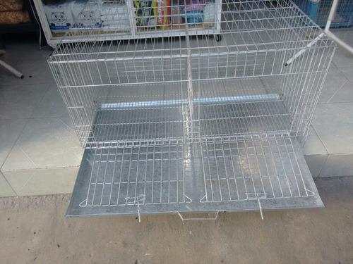 jaula para conejo mascotas +charola +2 huecos