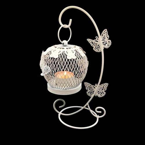 jaula porta vela con mariposas