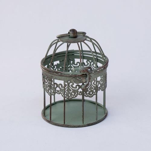 jaula verde gastada 10 * 12 cm deco decorativa shabby chic