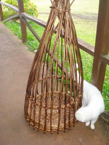 jaulón mimbre decoración etnica plantas no pájaro original