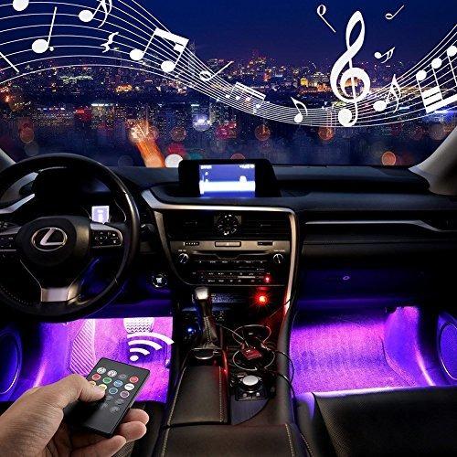 Luces LED decorativas de ambiente para interior de coche con puerto USB White