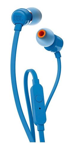jbl audífonos manos libres t110 in-ear - azul