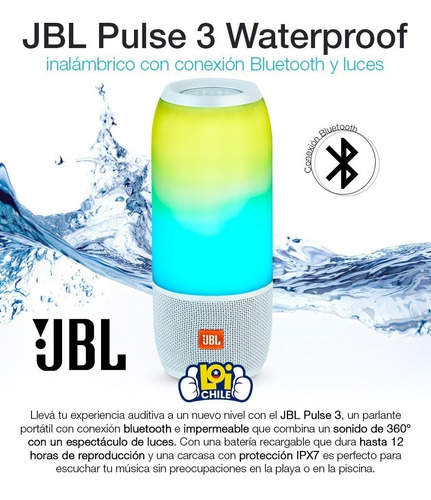 jbl pulse 3 waterproof bluetooth 4.2 luces loi chile