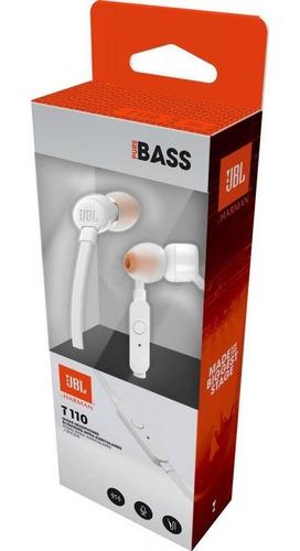 jbl tune t110 audifonos blancos manos libres con microfono