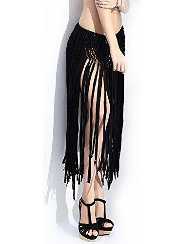 jby cintura ajustable de la mujer mini falda tassel fringe p