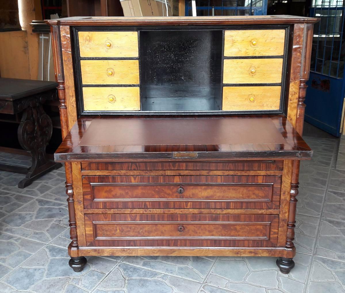 J c antiguo mueble secreter ingles puerta rebatible marmol en mercado libre - Mueble secreter ...