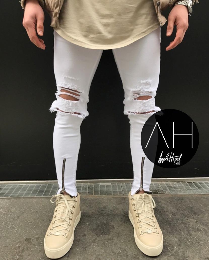 cb5e2e4678 jean blanco roto con cierres chupin elastizado streetwear. Cargando zoom.