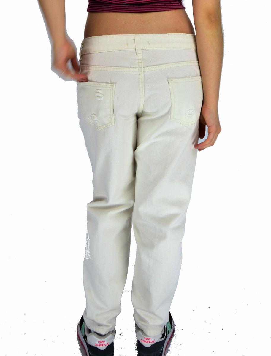 Jean boyfriend pantalón ancho suelto moda mujer roto blanco cargando zoom  jpg 913x1200 Moda mujer en 2aae66c8a0ad