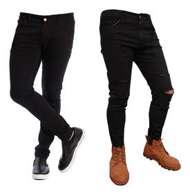 estilos de moda proporcionar un montón de Tienda Jean Chupin Hombre Combo Negro Y Negro 4 Roturas Elastizado