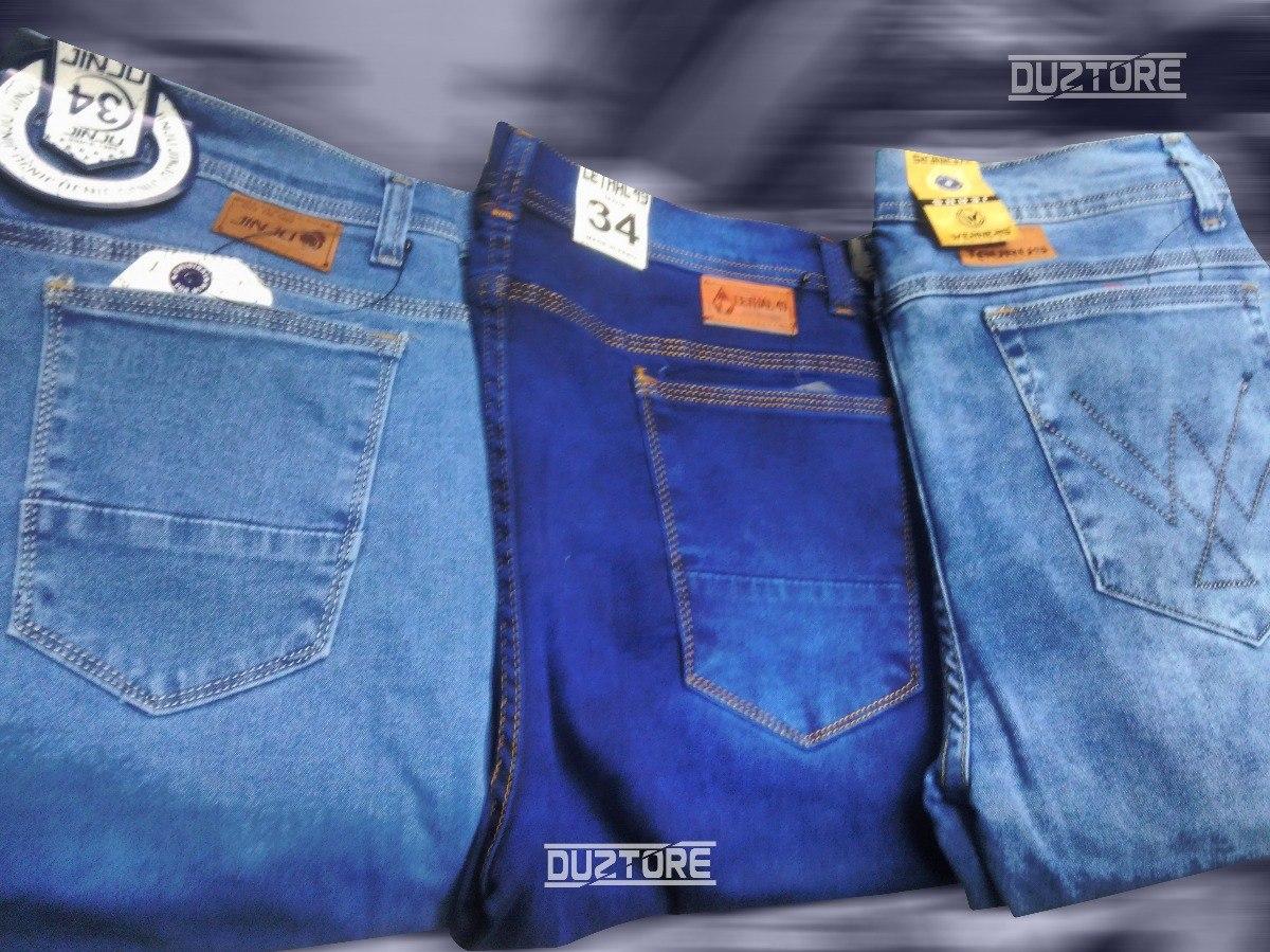 60f019824bd55 Cargando zoom... 2 pantalon jean pitillo strech clasico moda urbana para  hombre