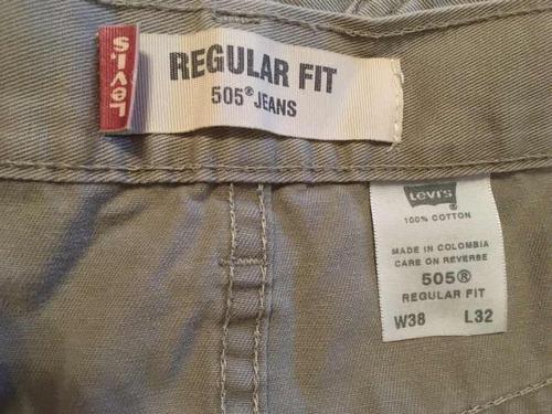 jean levis 505 para hombre talla 38 x 32 color tipo kaki