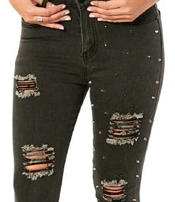 diseño encantador colores delicados estilo exquisito Jean Mujer Elastizado Chupin De Tiro Muy Alto Roto