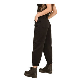 Jean Pantalon Mujer Slouchy Tiro Alto Clasico Negro