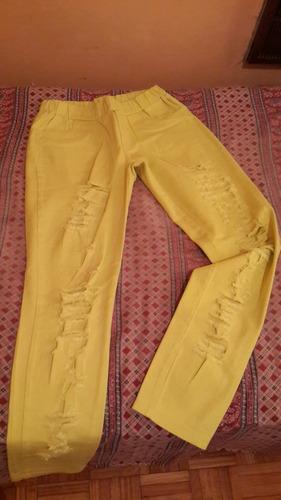 jean rasgado amarillo fluor