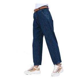 Jean Rigido Pantalon Mujer Slouchy Mom Tiro Alto Clasico