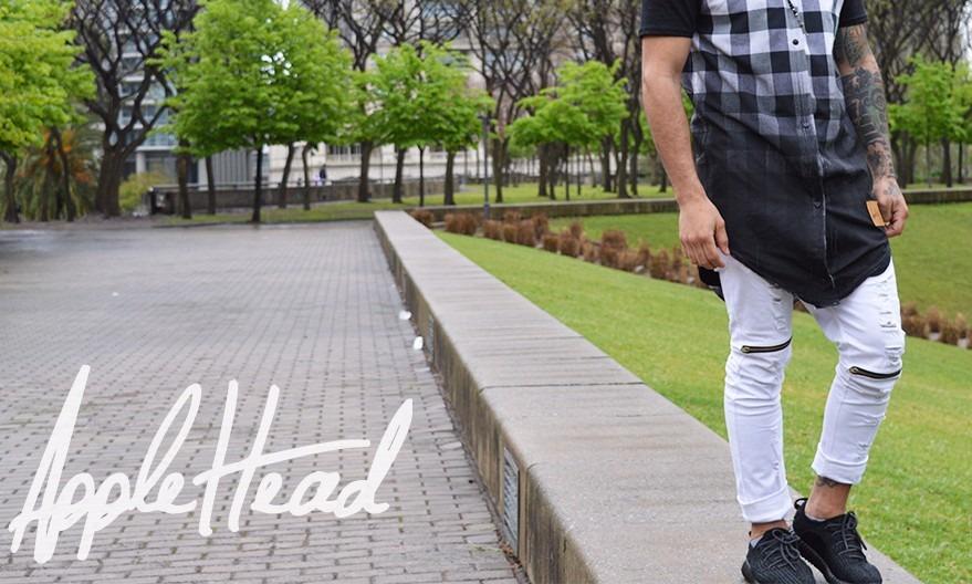 1ec2110621 jean roto hombre swag cierres streetwear blanco   negro. Cargando zoom.