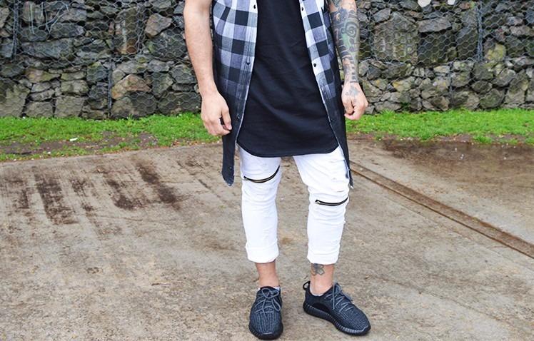 2691060f29 Jean Roto Hombre Swag Cierres Streetwear Blanco   Negro -   1.200